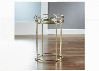 Antique Gold Round Glass Top Table Metal Side Living Room Furniture Vintage NEW