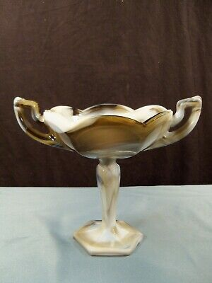 Westmoreland Brown Marble Slag Glass Compote Handled Sweetmeat Candy Dish INV2