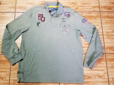 Polo Ralph Lauren Mountain Expedition Patch Rugby Shirt Mens XL Custom Fit