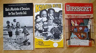 3 Doll Clothes Knit Crochet Booklets Barbie Dresses & Sweaters Kiddlie Wardrobe