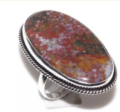 Blood Stone Ring Womans Size Us 7.5 Silver Colored Band Multicolored Stone