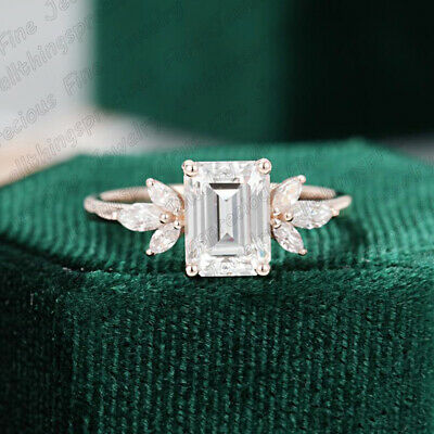 2.50 Emerald Cut Diamond 10K Rose Gold Finish Solitaire Engagement Wedding Ring