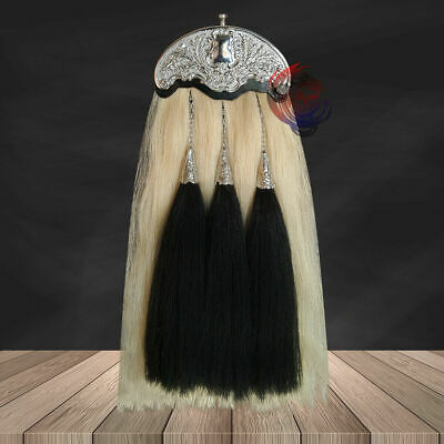 Scottish Military Long Horse Hair Sporran 100% Original With Cantle & 3 Tassels
