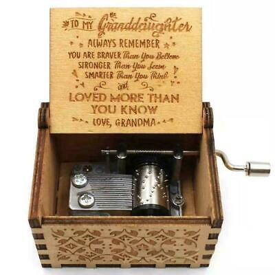 Wooden Music Box Grandma For Granddaughter -You Are Gifts Engraved My Sunsh G8I6