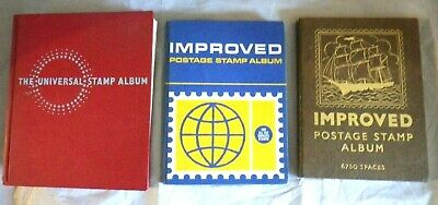 3 x stamp albums found in loft hard back improved x 2 universal x 1