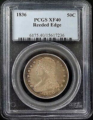 1836 Reeded Edge Capped Bust Half Dollar graded XF 40 by PCGS! Only 1200 minted!