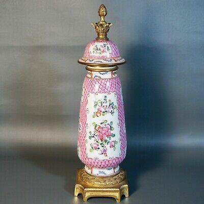 Antique Chinese/Continental Porcelain Lidded Vase Ormolu, Handpainted, Pine Cone