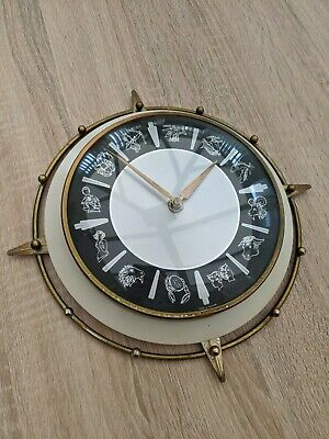 FANTASTIC vtg 1960s METAMEC STARBURST ZODIAC BATTERY 1950s WALL CLOCK SUNBURST