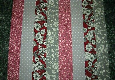 """**Clearance**10 Jelly Roll Strips Burgundy & Grey   44"""" X 2.5""""  100% Cotton  Clf"""