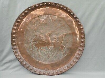 Copper Wall Charger  ST.GEORGE ? VIKING ? Slaying Dragon 19thC. ARTS & CRAFTS