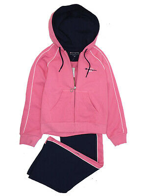 Girls Champion Pink Cotton Rich Hooded Top & Joggers Tracksuit 7/8Y-11/12Y