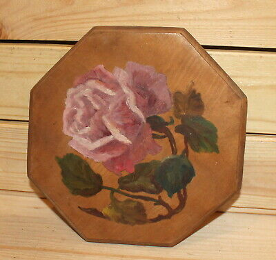 Vintage impressionist floral oil painting still life with rose signed
