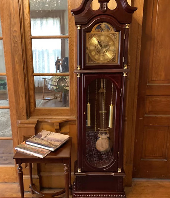 Grandfather Floor Clock Blue Moon Roman Tall Antique Traditional Wooden Longcase