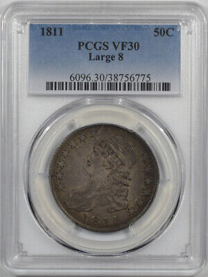 1811 Capped Bust Half Dollar - Large 8 Pcgs Vf-30 Original! O-103