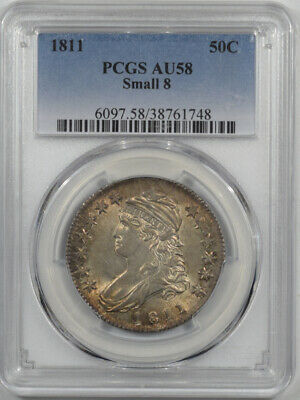 1811 Capped Bust Half Dollar - Small 8 Pcgs Au-58 Original Pq! Looks 62! O-110