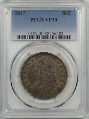 1817 CAPPED BUST HALF DOLLAR PCGS VF-30 TOTALLY ORIGINAL O-110a