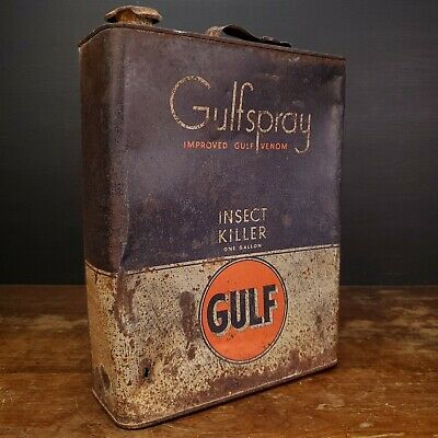 VINTAGE Gulf Gulfspray Insect Killer Oil Can One Gallon Gal SLIM Tin Metal Empty