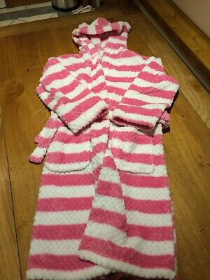 Girls Dressing Gown Fleece Hooded Pink Waffle Stripe Design Robe 11-12Years