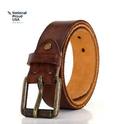 Men'S 100% Full Grain Leather Belt With Classic Prong Buckle