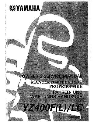 Yamaha owners service manual 1999 YZ400F (L) / LC