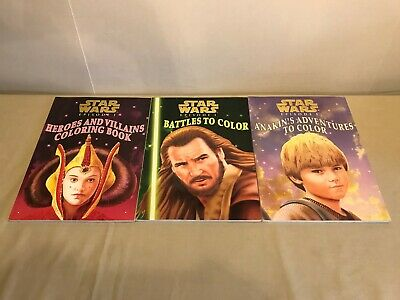 STAR WARS Episode 1 COLORING BOOKS Lot of 3