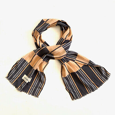 BALMAIN!!! Vintage 1970s 'Pierre Balmain' long silk scarf with graphic check and