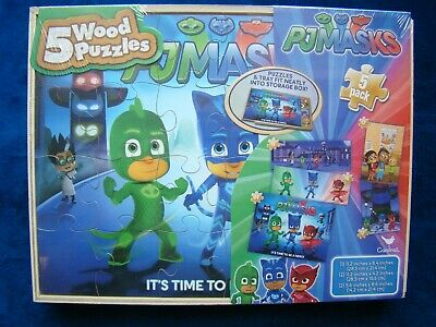 Cardinal Industries PJ Masks 7 Wood Puzzles In Wooden Storage Box