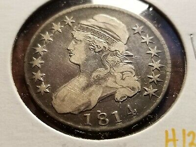 1814 Capped Bust Silver Half Dollar, full date, full liberty     INV12   H1237