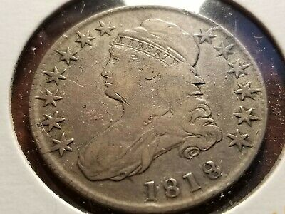 1818 Capped Bust Silver Half Dollar, full date, full liberty     INV12   H1238