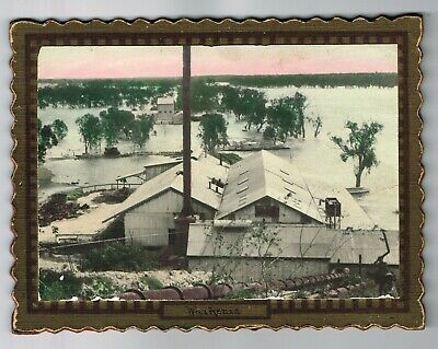 VINTAGE BOARD MOUNTED REAL PHOTO: 1931 WAIKERIE (SA) FLOOD w/ back stand