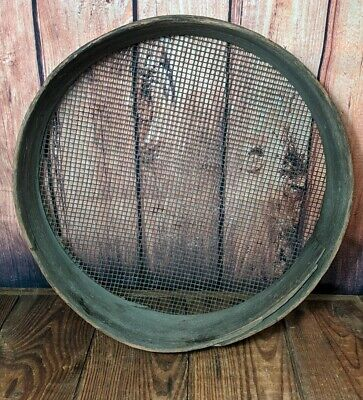 Antique Primitive Round Wooden Grain Sifter Sieve Barn Tool AAFA 16""