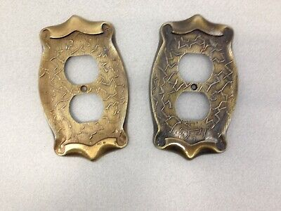 Two Vintage Made In Taiwan Amerock Style Brass Look Plug-in Wall Plate Cover