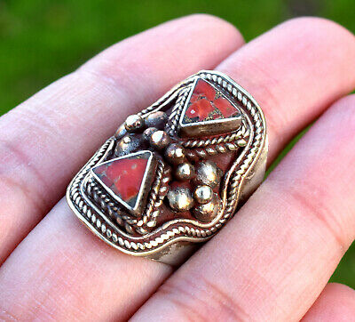 Vintage Red Coral Stone Nepal Tibetan Silver Ring Tribal Ethnic Tibet Antique