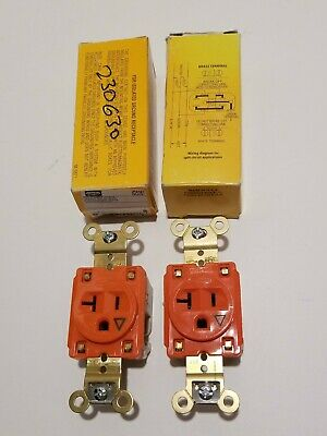 Lot of 2 - Hubbell IG5361 Single Receptacle 20A Amp 125V 2P 3W Orange Grounding