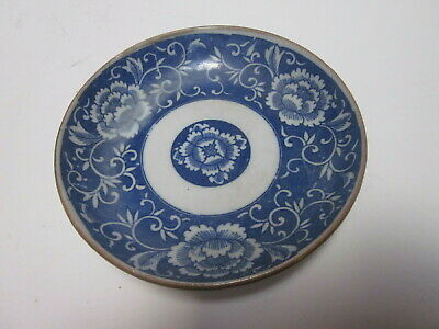 Antique Blue Transferware Chinese Porcelain Small Bowl Flower Design