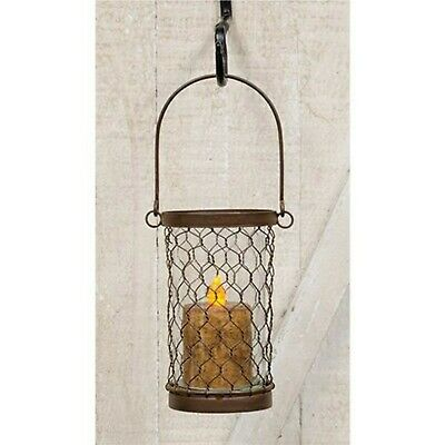 Chicken Wire Lantern - Rustic Lantern Candle Holder - Primitive Country Decor