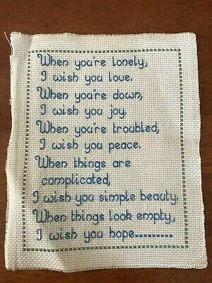 Cross stitch embroidered inspirational quote I wish love joy peace beauty hope