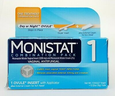 Monistat 1 Combination Pack Vaginal Antifungal Ovule + Cream for Itch Relief