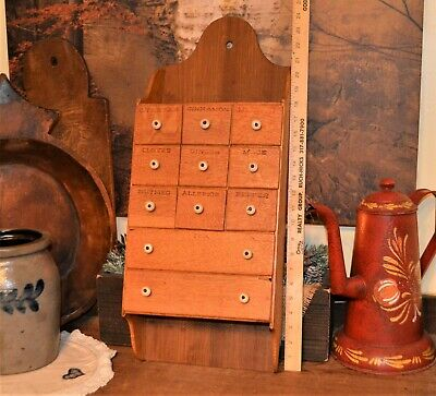 "ANTIQUE PRIMITIVE 11 LABELED DRAWER OAK WOOD WALL SPICE BOX CABINET 25"" x 10"""
