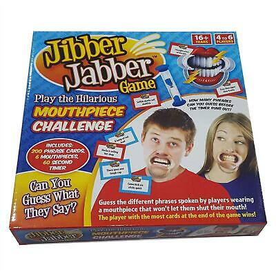 Jibber Jabber Party Board Game Speak Out Talk Loud 6x Mouthpieces Challenge Toy