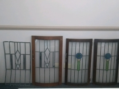 4 X Antique vintage leadlight stained glass panels