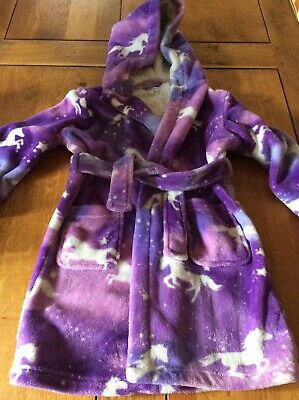 Girls Purple Unicorn Dressing Gown Age 5-6 Years Debenhams Excellent Condition