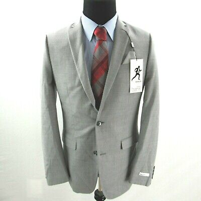 $425 Bar III Slim Fit Stretch Flannel Suit Jacket Mens 40L 40 Gray NEW