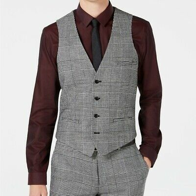 $125 Bar III Slim Fit Glen Plaid Suit Vest Mens XXL 2XL Black White NEW