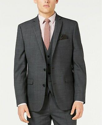$425 Bar III Slim Fit Windowpane Sharkskin Suit Jacket Mens 36S 36 Gray NEW
