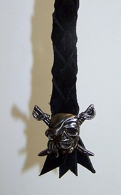 air horn pull cord peterbilt & kenworth, black leather, pirate skull concho
