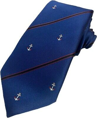 Woven Anchor Tie Royal Blue With Red & Black Stripes Navy