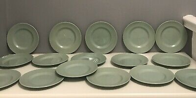 Vintage Retro 1940's Beryl Woods Ware Green Tea Plates X 16/ve Day Celebrations
