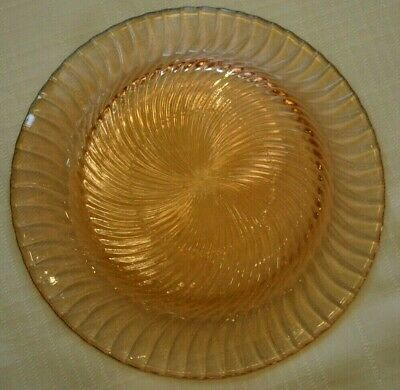 Pink Depression Glass Set of Three Plates  Pink Swirl 7 3/4 Inches Heavy Weight