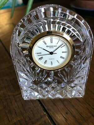 """Waterford Crystal Vanity Desk Table Shelf Clock 3.5"""" Lismore Dome Shaped, LN"""